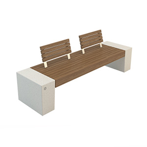 Eraclea Wood with Backrest Bench by Bellitalia